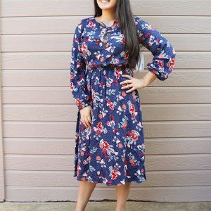 NEW Navy Blue Red Floral Prairie Midi Dress